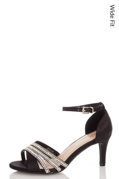 Black Wide Fit Diamante Sandals